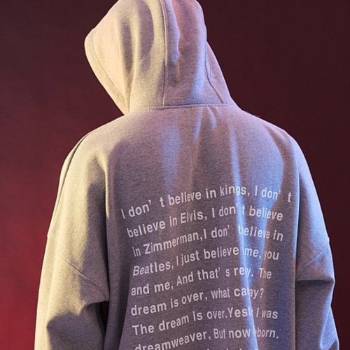 [20%할인][OVER THE ONE] BACK MESSAGE BOXY HOODIE (GRAY)