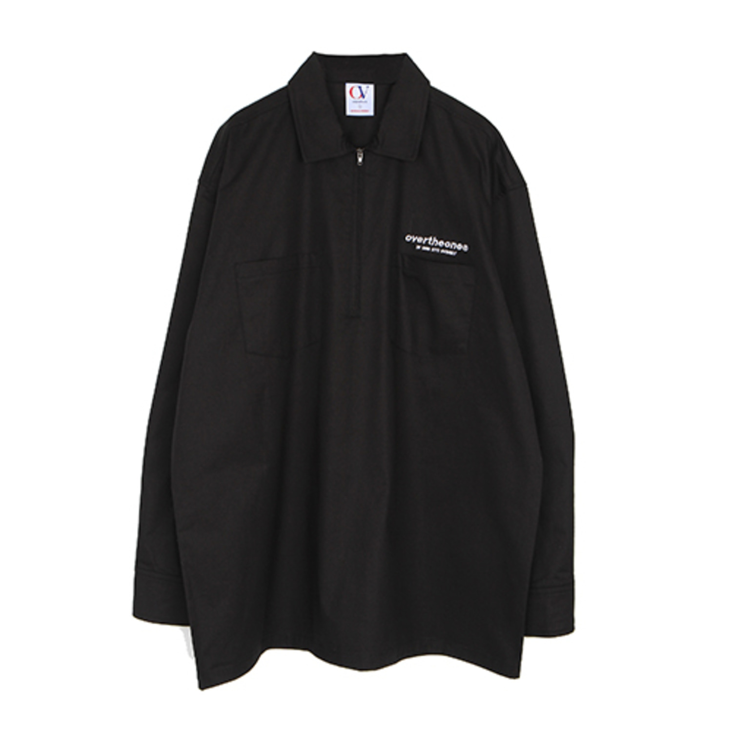 [OVERTHEONE][182]HALF ZIP UP SHIRTS(BLACK)
