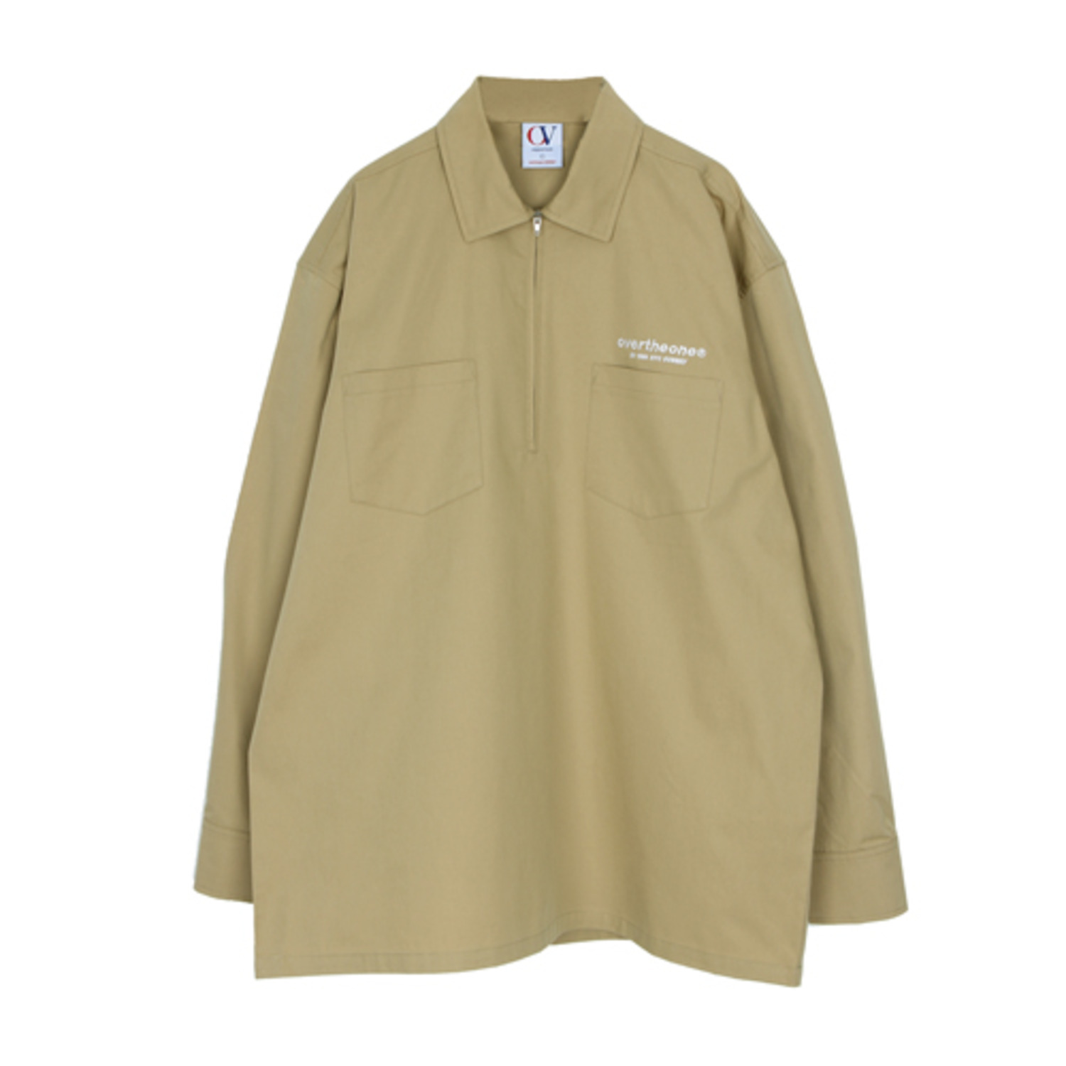 [OVERTHEONE][182]HALF ZIP UP SHIRTS(BEIGE)