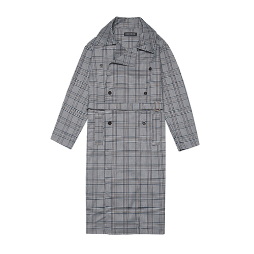 [080]TRENDY CHECK TRENCH COAT(DEEP GRAY)