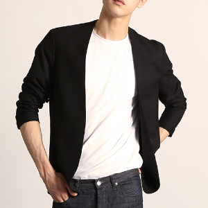 [S/S] [O9JK1201BK] LINEN TOUCH COLLARLESS BLAZER (BLACK)