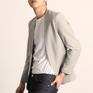 [S/S] [O9JK1201GY] LINEN TOUCH COLLARLESS BLAZER (GRAY)