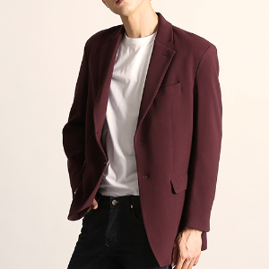 [204]BASIC FIT BLAZER(WINE)
