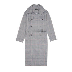 [080]TRENDY CHECK TRENCH COAT(LIGHT GRAY)