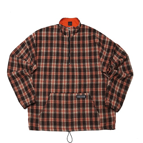 [108] CHECK PATTERN ANORAK ZIP (BROWN)