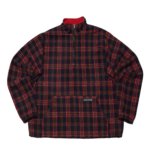 [108] CHECK PATTERN ANORAK ZIP (RED)
