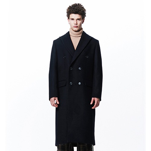 [210] HEAVY WOOL DOUBLE COAT (NAVY)