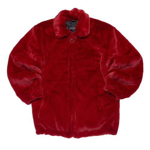 [065] SLOGAN FUR HEAVY JACKET (RED)